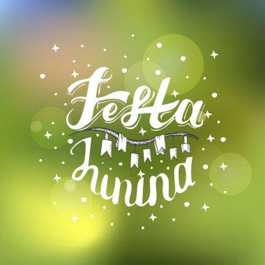 Festa Junina. Holiday card design for Brazilian June fest de Sao Joao on the blurred background. Lettering illustration.