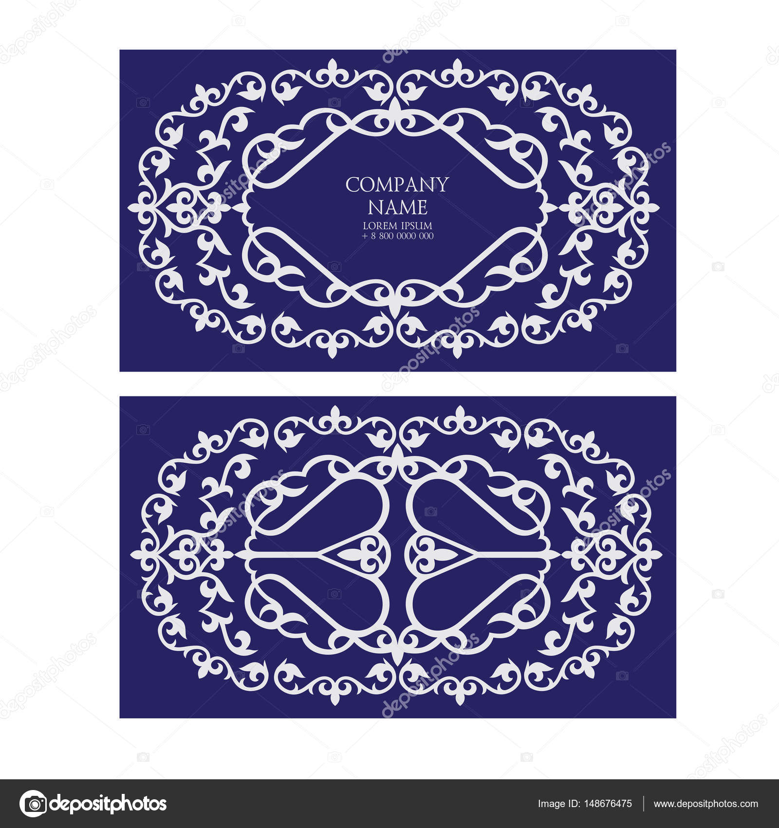 A set of two invitation cards, business cards, leaflets made usi ...