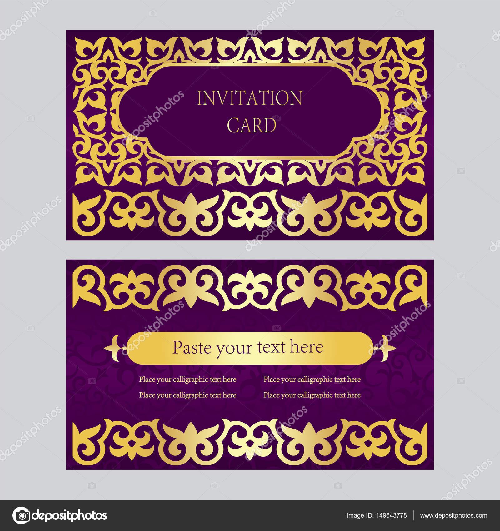 Un Ensemble De Cartes Dinvitation Visite Fond Violet Avec