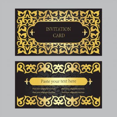 A set of invitation cards, business cards. Black background with