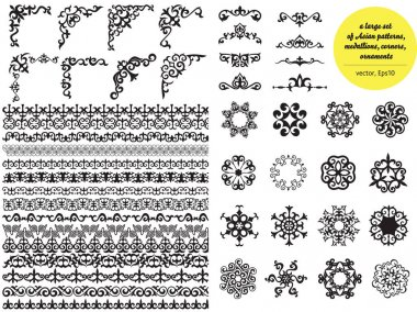 Asian large set of patterns and ornaments. Set of seamless borde