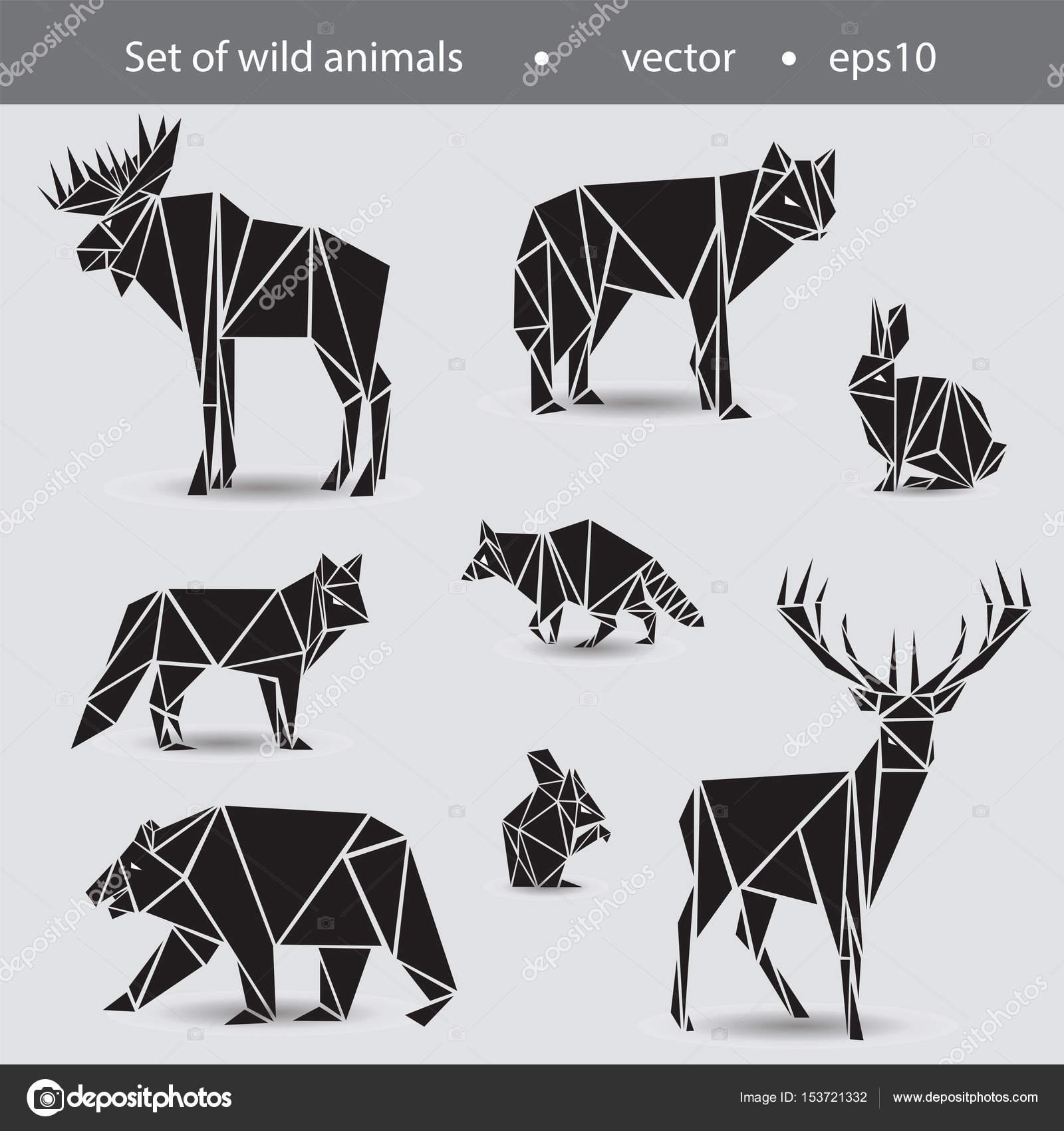 ein satz von acht tieren wilde tiere in den flachen grafiken schwarz stockvektor. Black Bedroom Furniture Sets. Home Design Ideas