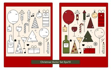 Christmas set of simple icons, colored and not