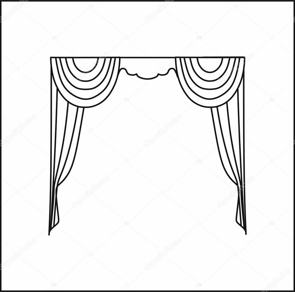 Curtains Interior Design Sketch Window Curtains Stock Vector C Anytaktlv 130360916