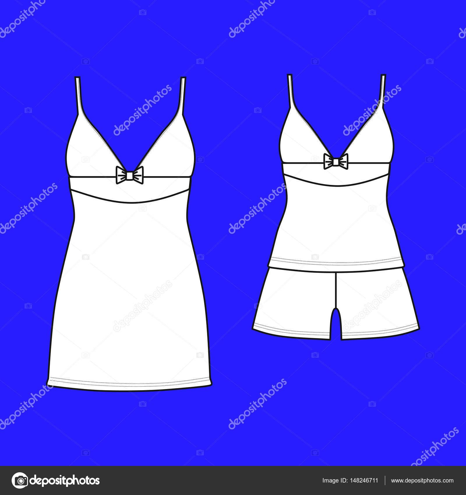 4f7446571d93ac Одяг. Жіночий homewear. піжами Джерсі. Шорти і топ — Вектор від anytaktlv