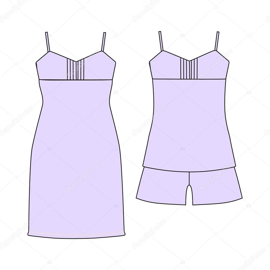 069d8391a8766c піжами Джерсі. Шорти і зверху. одяг. Жіночі homewear — Стоковий вектор —  білий © anytaktlv #148246637