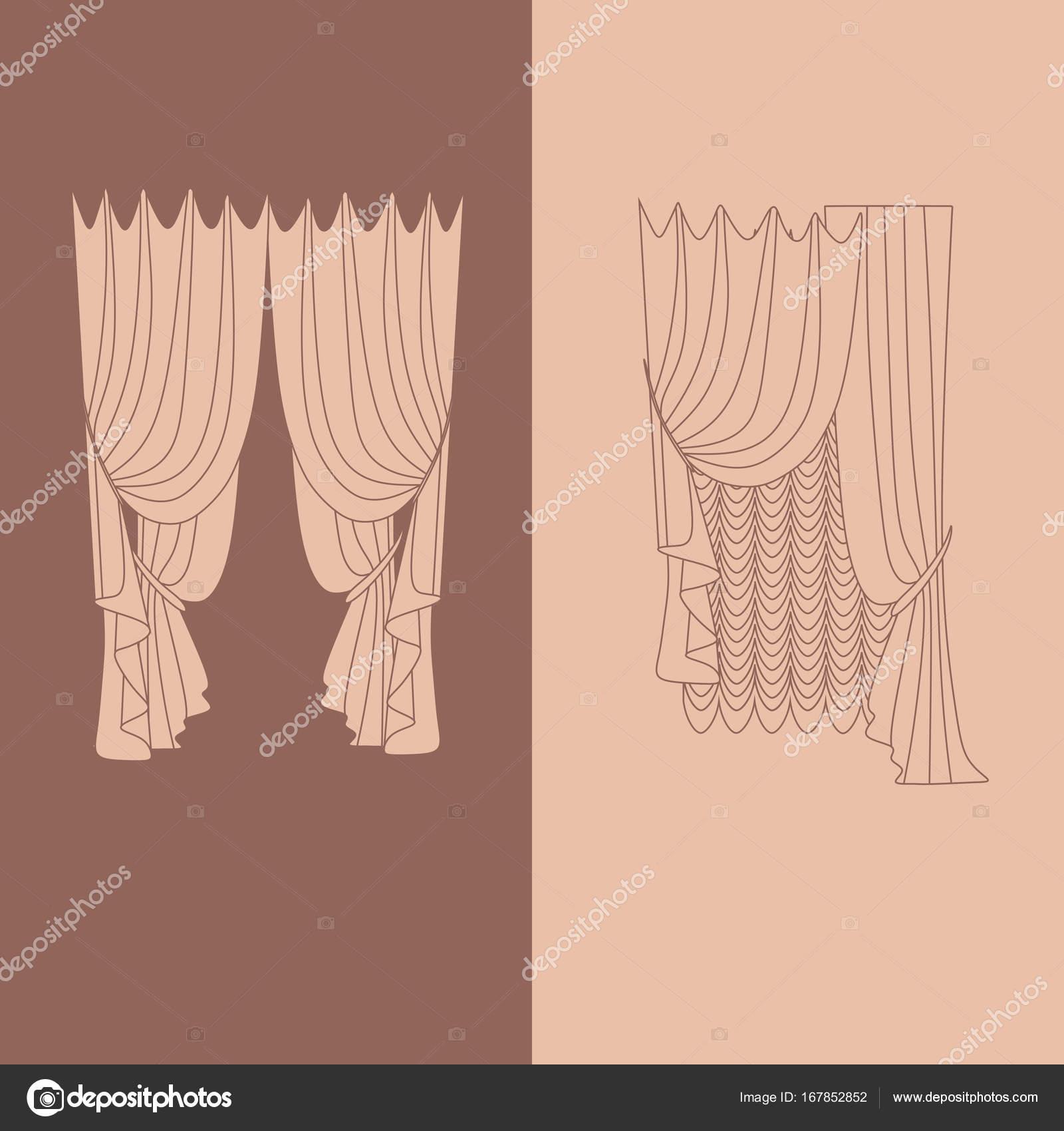 klassieke gordijnen. gordijnen. lambrequin — Stockvector © anytaktlv ...