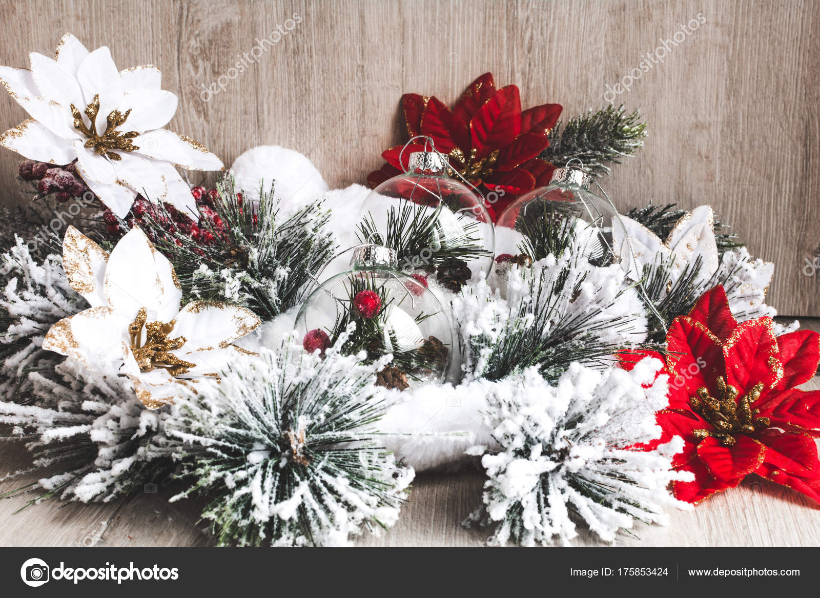 christmas decor christmas new year background christmas flowers poinsettia christmas stock photo