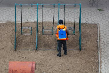 Coronavirus Quarantine. Disinfection and decontamination on a public place as a prevention against Coronavirus disease 2020, COVID. Playground in Moldova