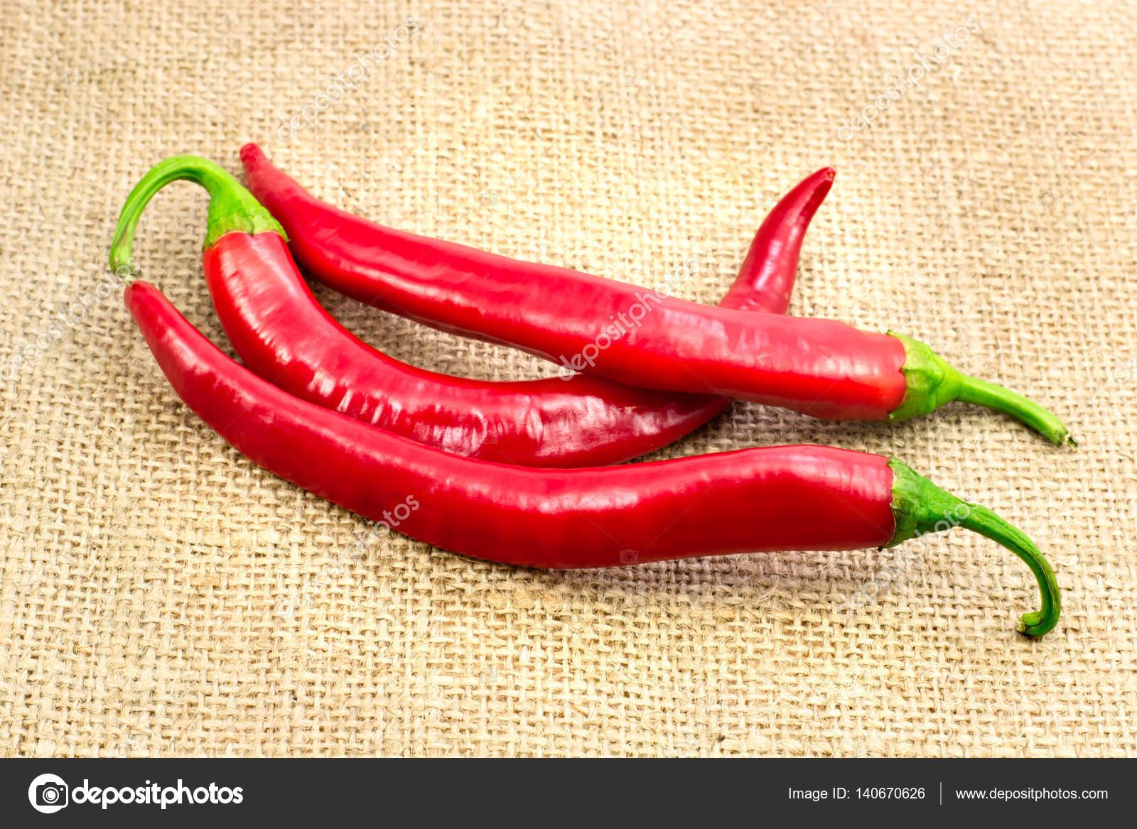 Ordinaire Chili Pepper On The Tablecloth From Burlap Closeup U2014 Photo By Innaso4inska