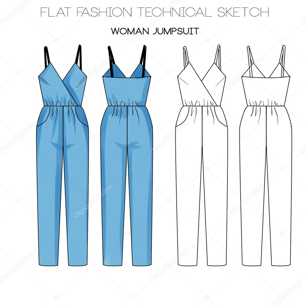 Flat Mode Vorlage Skizze - Frau Overall — Stockfoto © inquieta ...