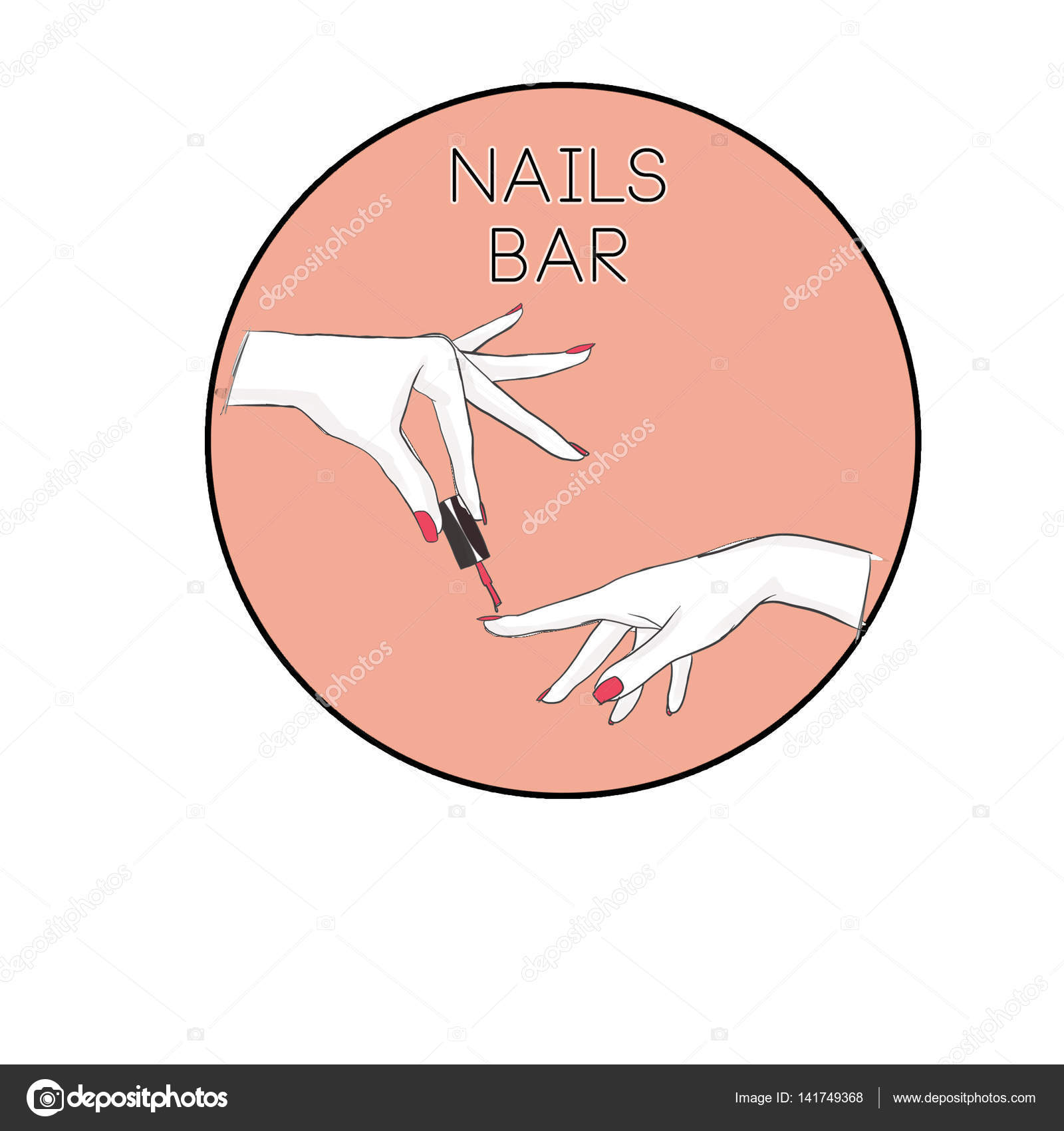 Nail Salon Logo Symbol Of Manicure Design Sign