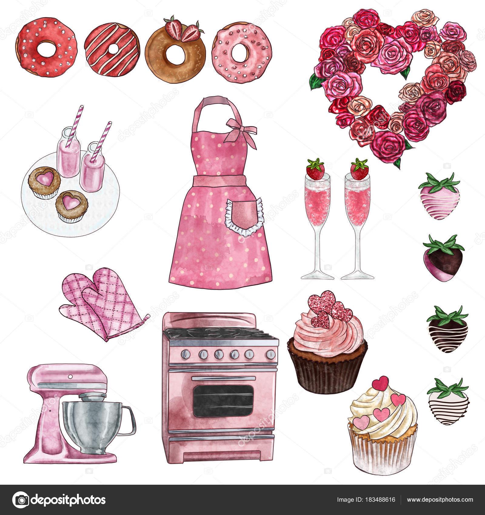 Cliparts Sammlung Gruppe Von Objekten Valentine Und Retro Küche Und ...