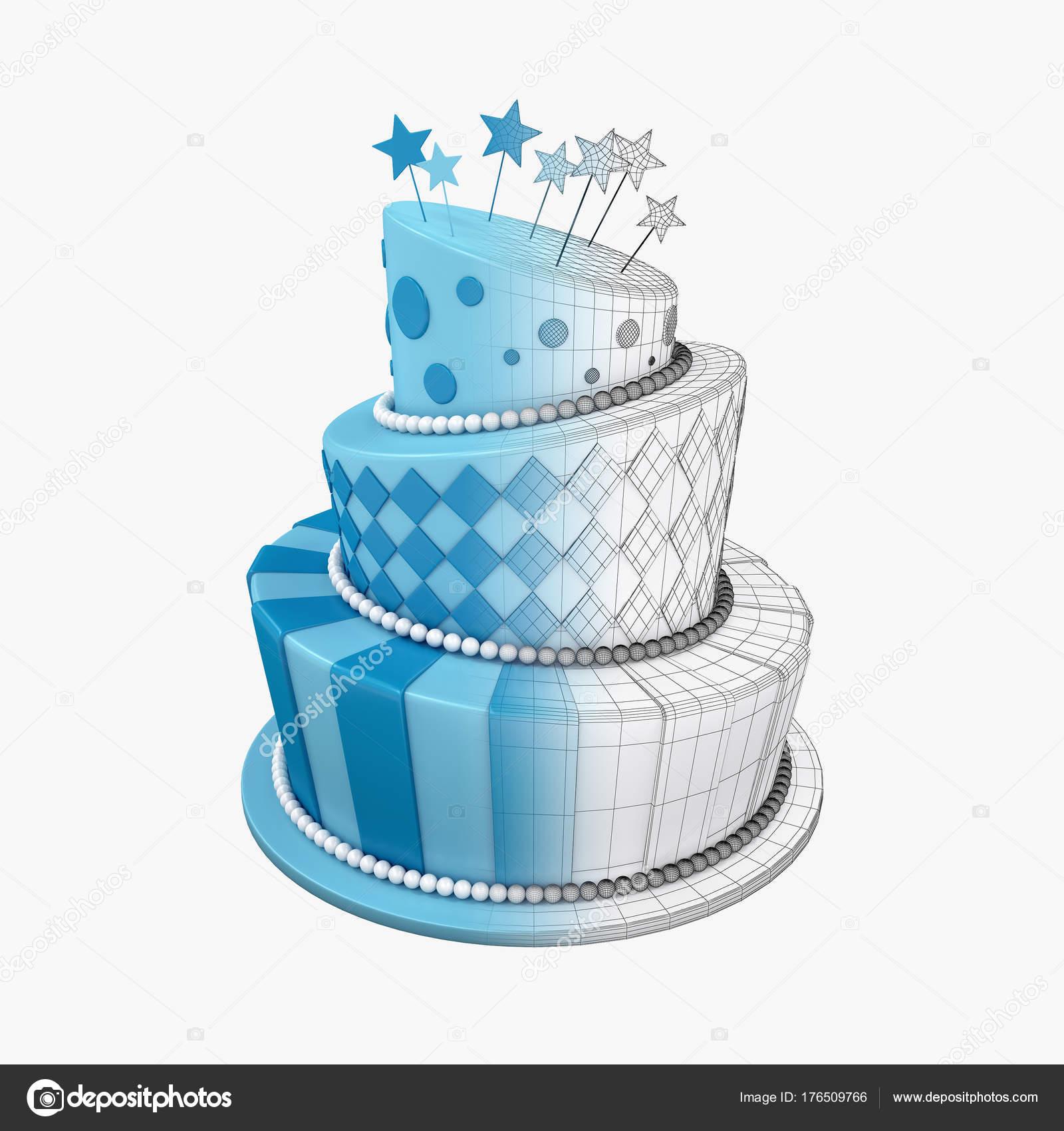 Abbildung Des Grossen Geburtstag Urlaub Drei Stock Kuchen Stockfoto