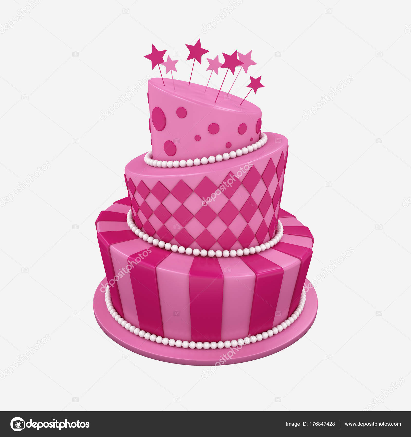 Fabulous Illustration Big Birthday Holiday Three Floor Cake Stock Photo Funny Birthday Cards Online Alyptdamsfinfo