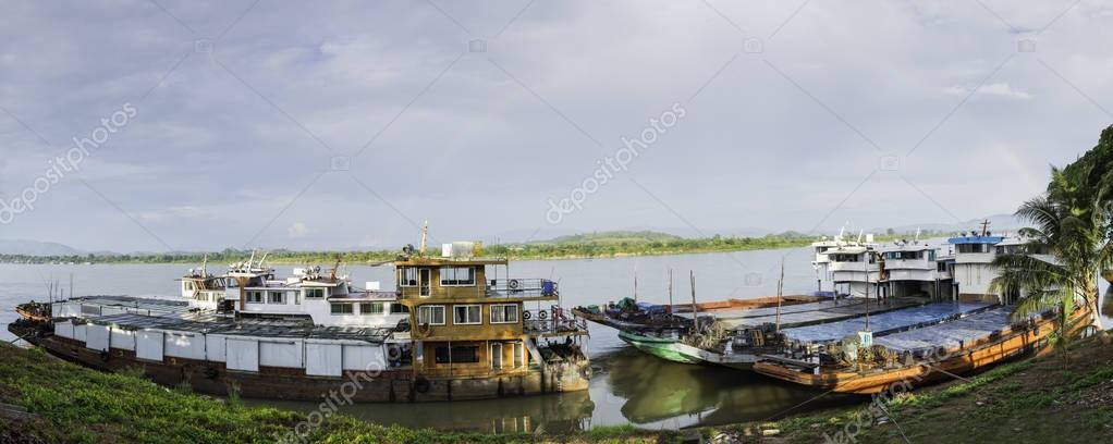 Port of Chiang saen with chinese boat,border of Thailand