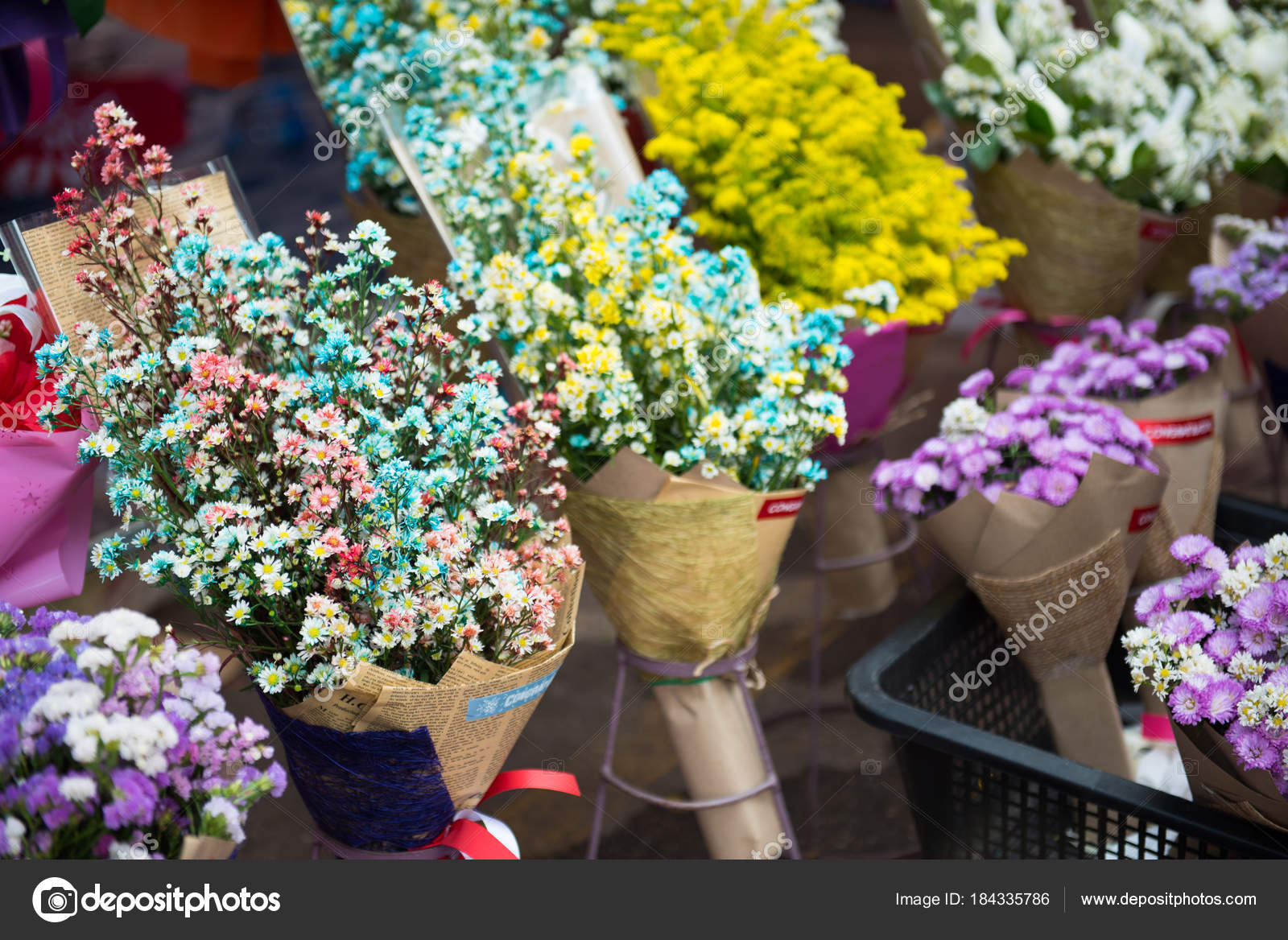Many bunch of colourful flower bouquet in stall for sell stock many bunch of colourful flower bouquet in stall for sell stock photo izmirmasajfo