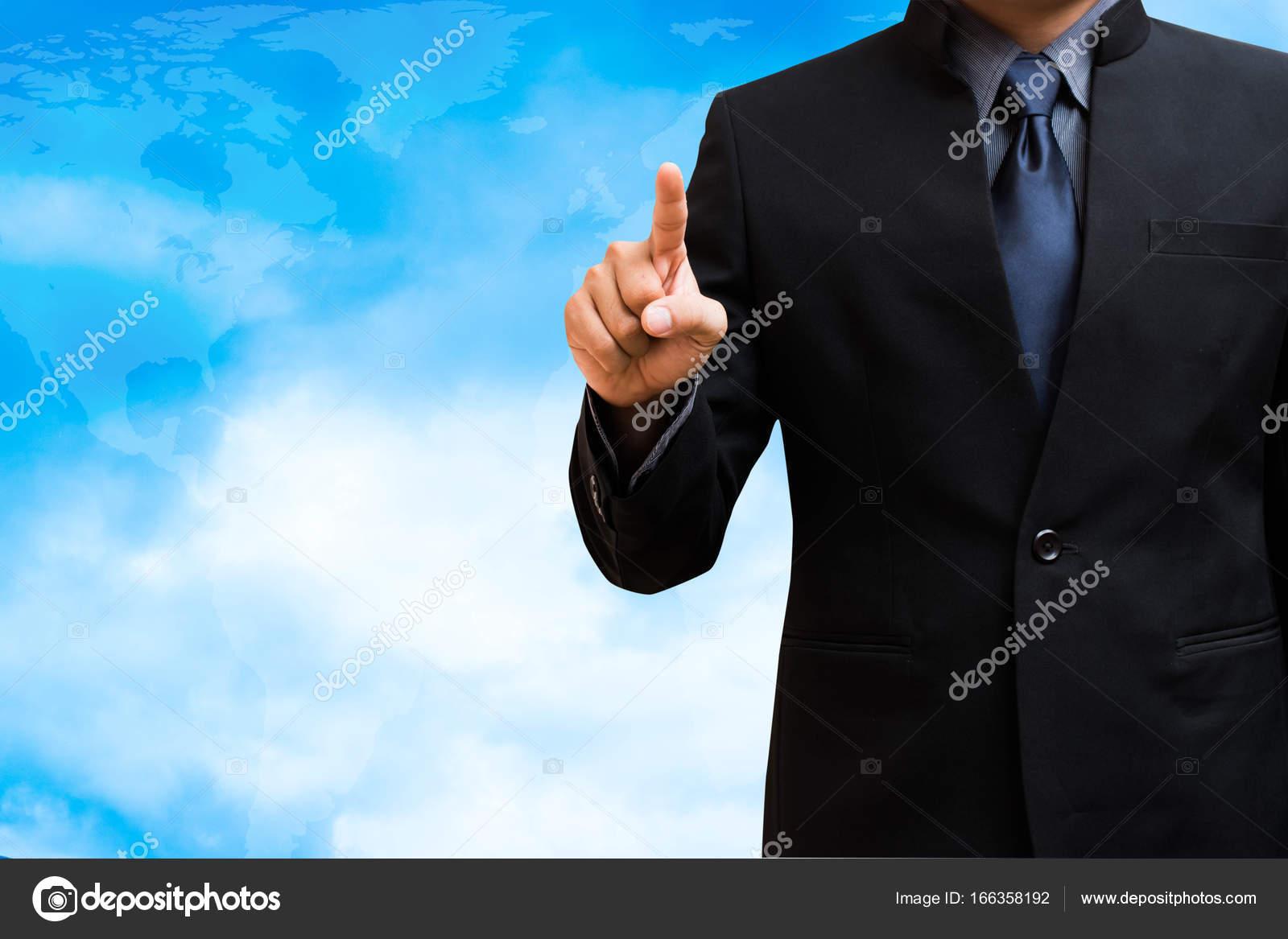 Hombre de negocios plantilla de escritura en fondo de cielo — Fotos ...