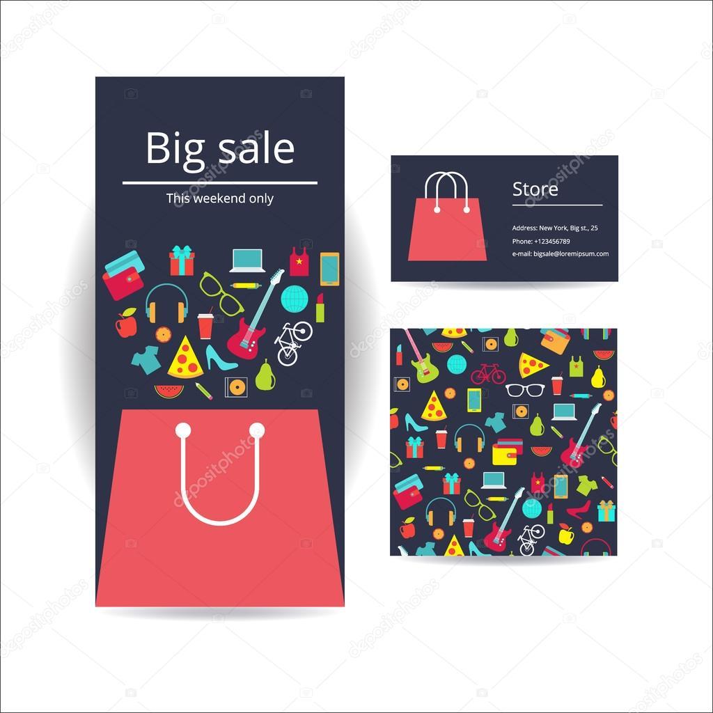 Banniere De Flyer Brochure Entreprise Carte Visite Et Avec Motif Sans Soudure Conception Modele Vecteur Sac A Provisions Achat