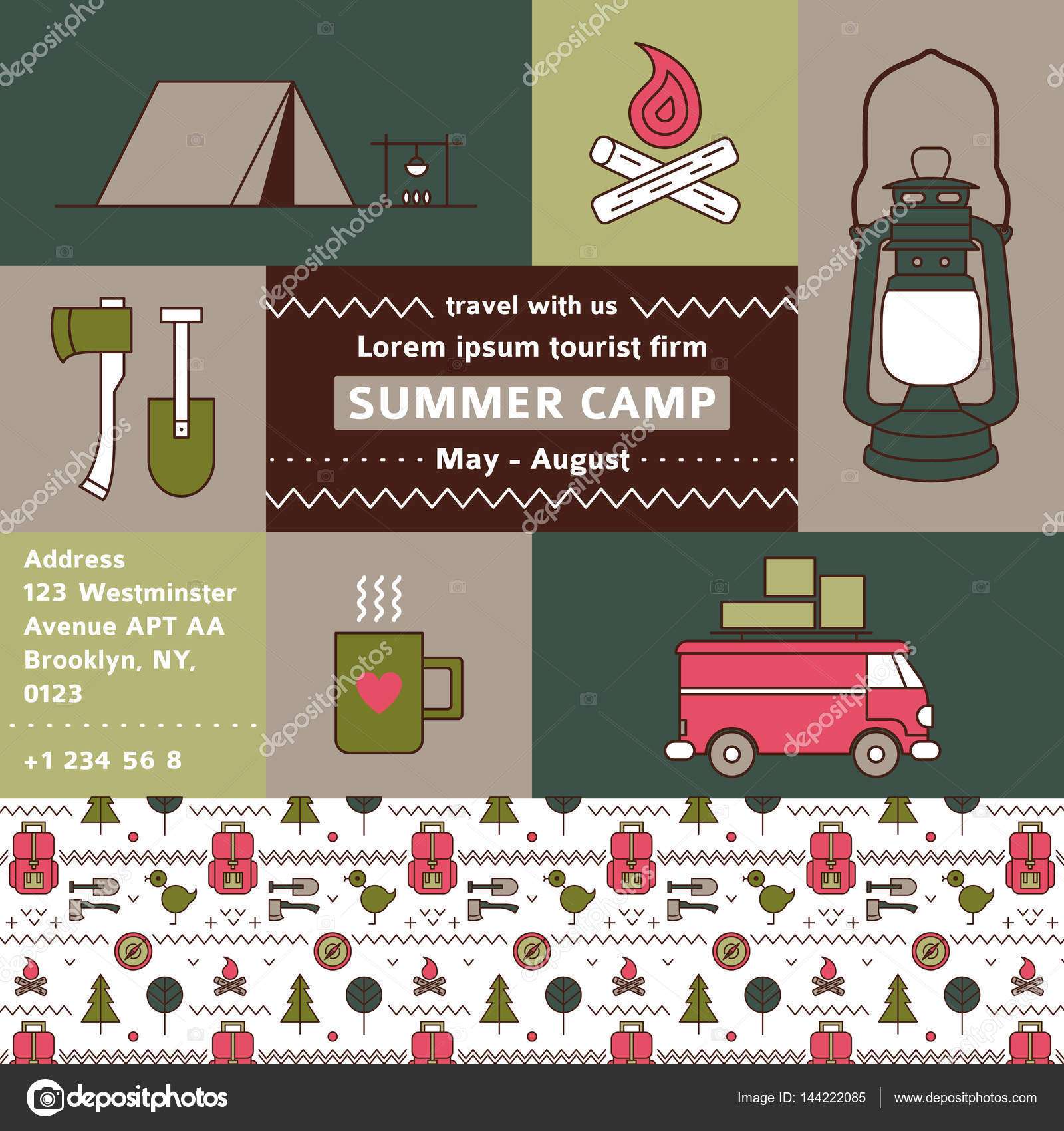 Tourist firm promotional poster. Summer camp