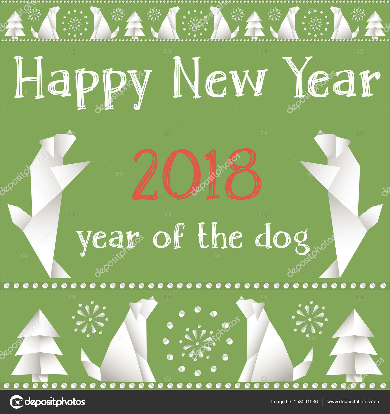 Christmas Card With Dogs Made In The Style Of Origami Stock