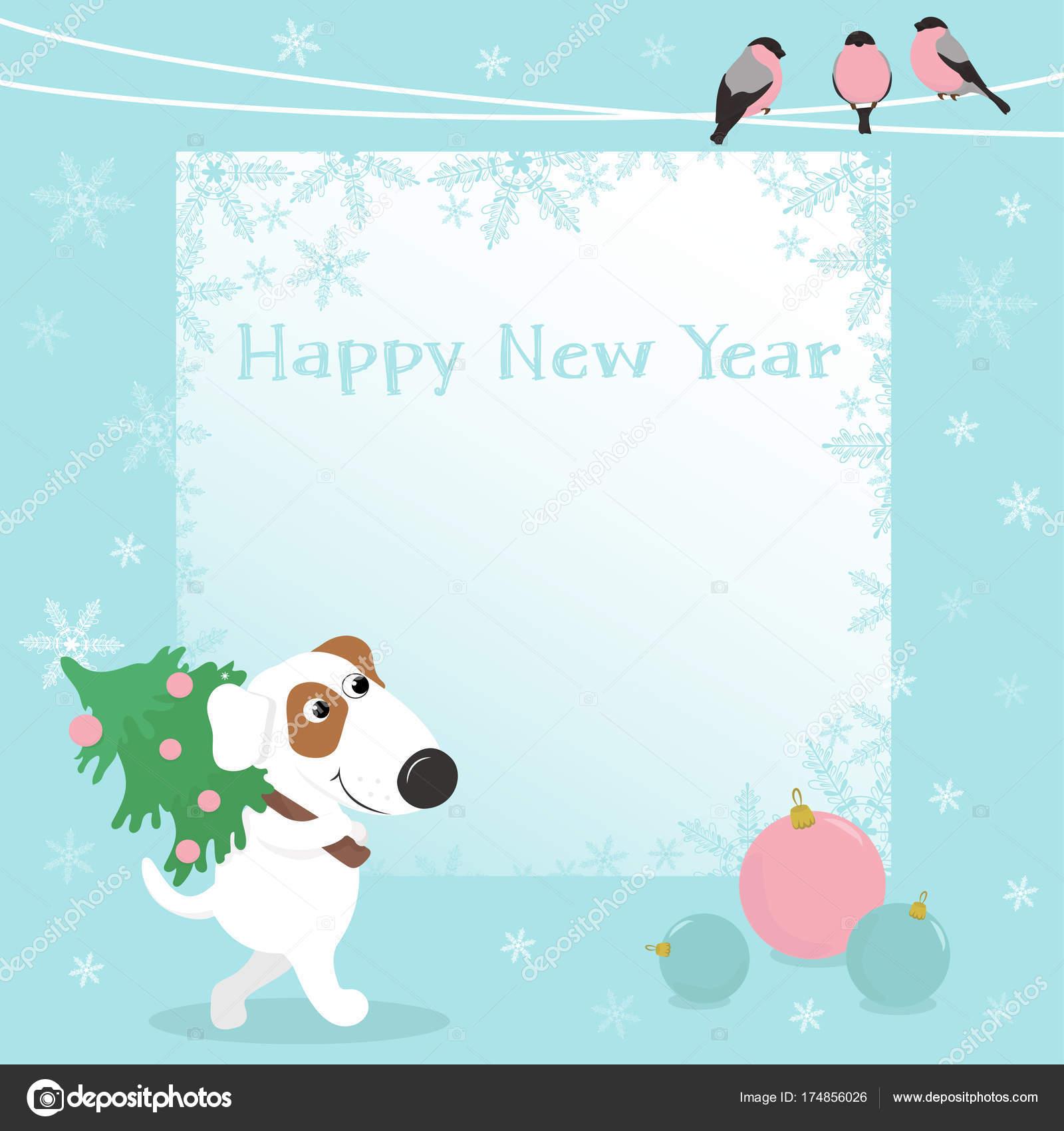 Christmas Card With Funny Dog And Christmas Balls Stock Vector