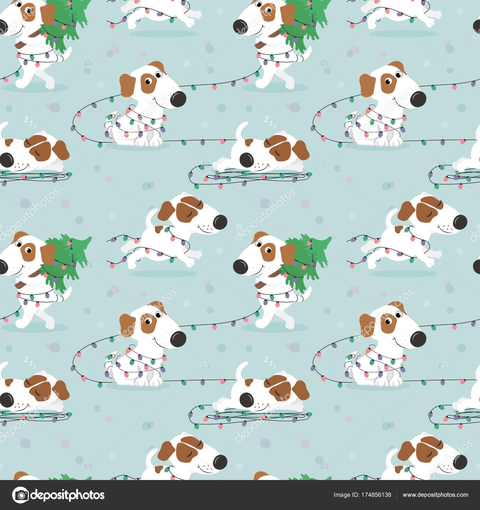 christmas pattern with funny white dog and christmas lights colorful vector illustration in cartoon style vector by sasha_astra