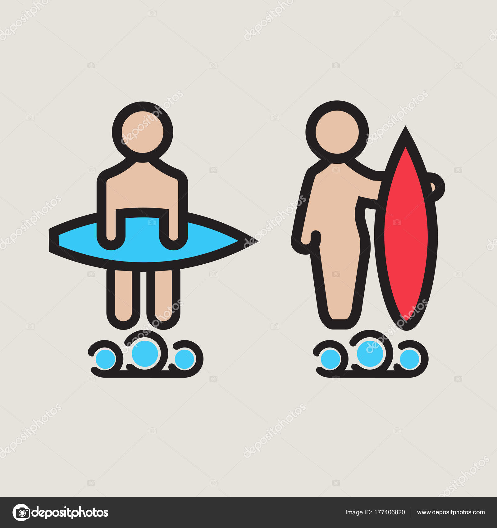 Surf logo or emblem design for toilet. — Stock Vector ...