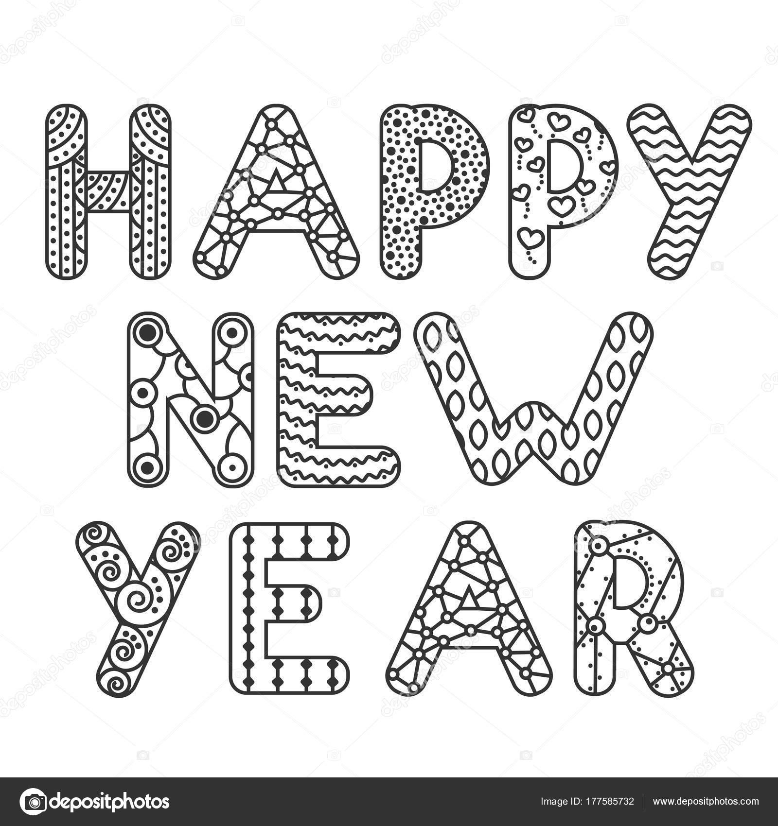 Feliz año nuevo postales o antiestrés para colorear en estilo doodle ...