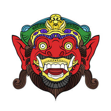 The traditional Balinese mask of the terrible mythical defender