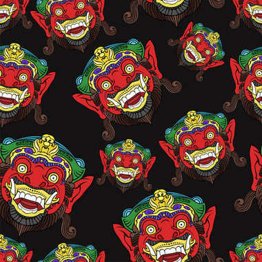 Traditional Balinese mask of the terrible mythical defender seamless pattern