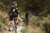 Fotografie Europäische Männer tragen Radsportbekleidung