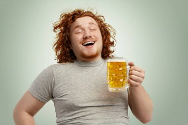male anticipating fresh cold beer