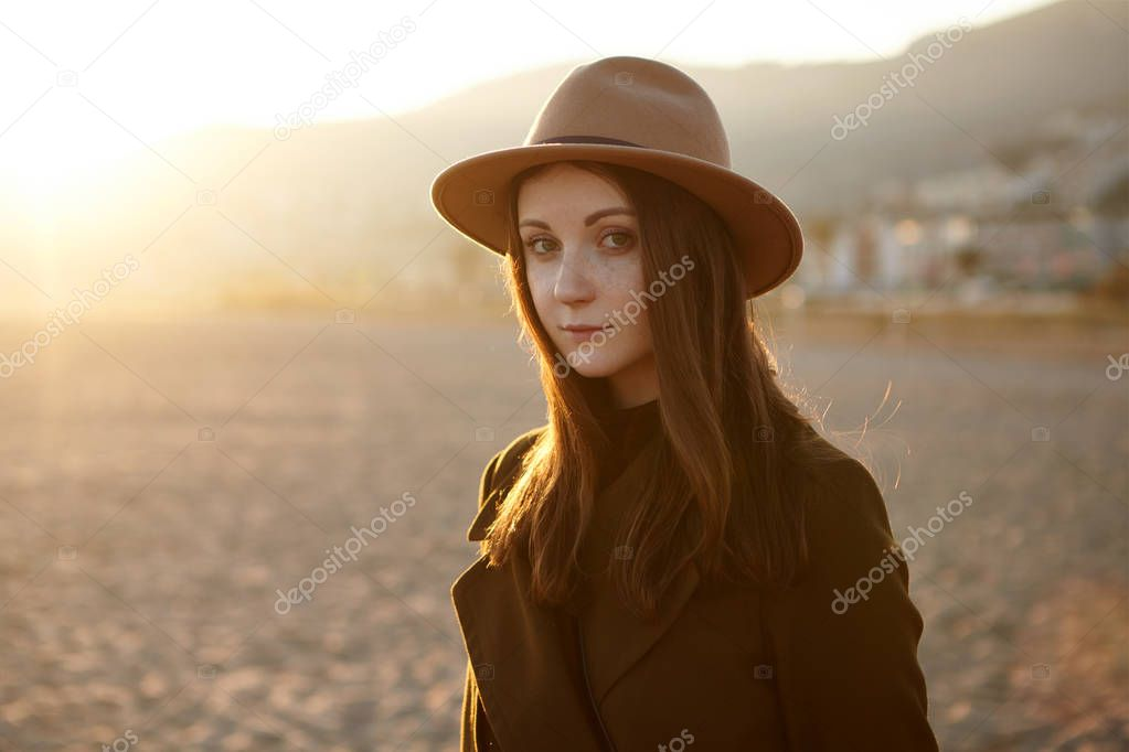 romantic young woman traveling