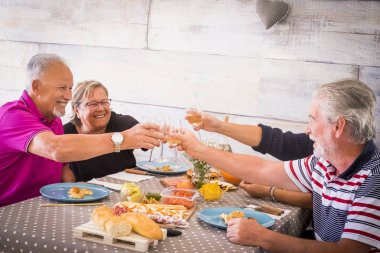 4 seniors at lunch toasting with wine and celebrating together in Brindisi. Men have a beard and women have eyeglasses
