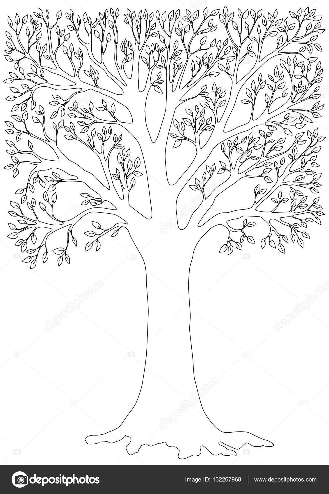 Ilustración de vector blanco y negro de un árbol. Página para ...