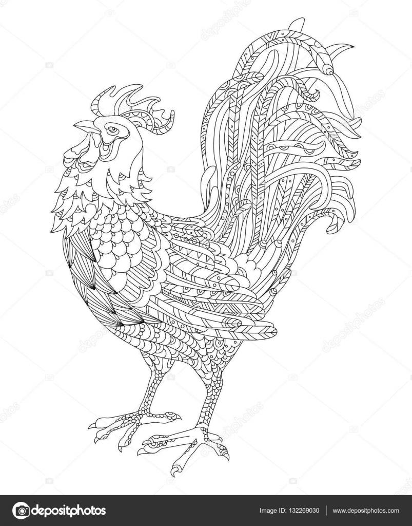 zwart wit vectorillustratie een haan symbool het