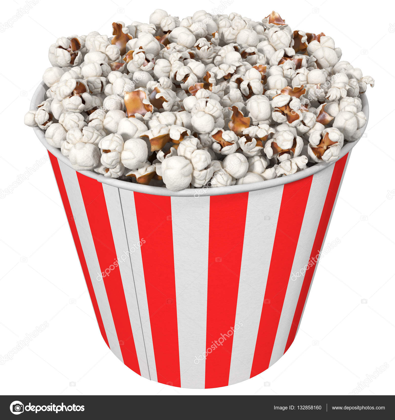 big striped cup with popcorn, isolated on white, 3d illustration