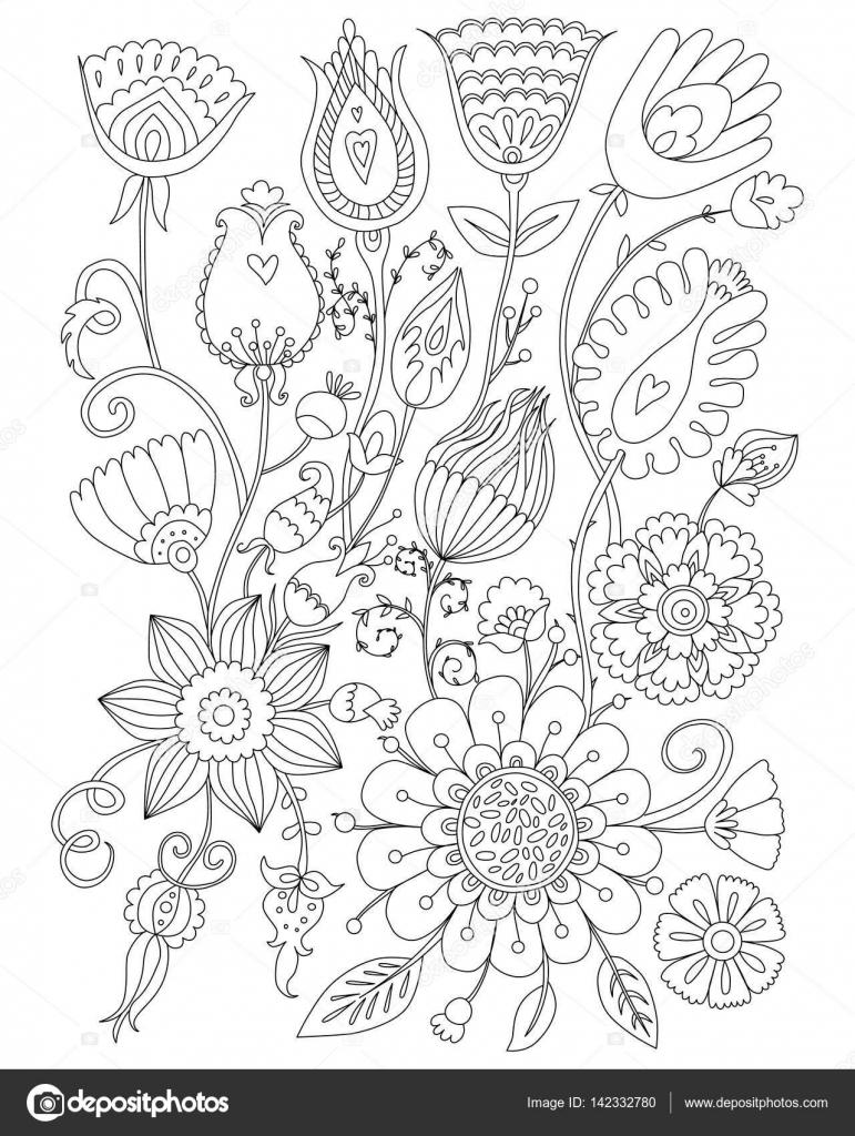 Yetişkinler Için Boyama Sayfası Boyama çiçek Tasarım Anti Stres