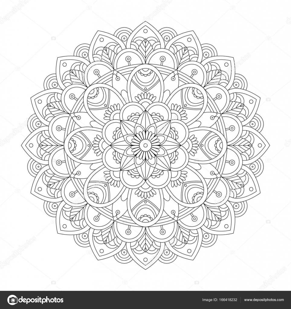 Yetişkinler Için Mandala Boyama Sayfası Stok Vektör Insh1na