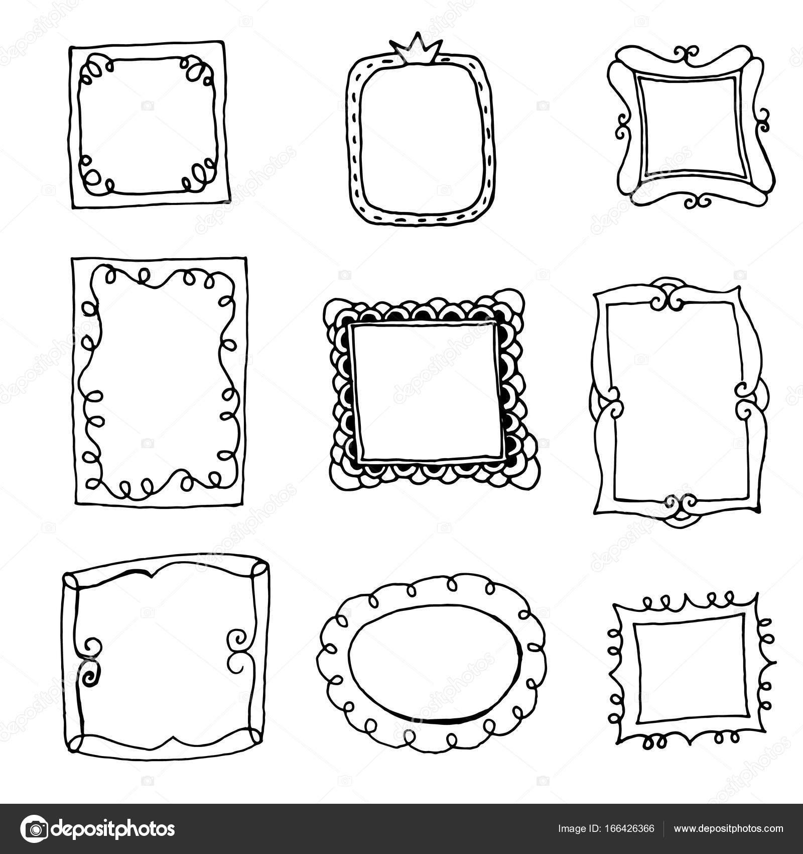 satz von doodle rahmen — Stockvektor © Insh1na #166426366
