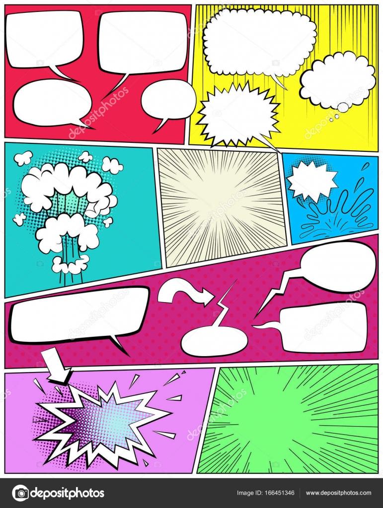Comic-Buch-Seitenvorlage mit leeren Sprechblasen — Stockvektor ...