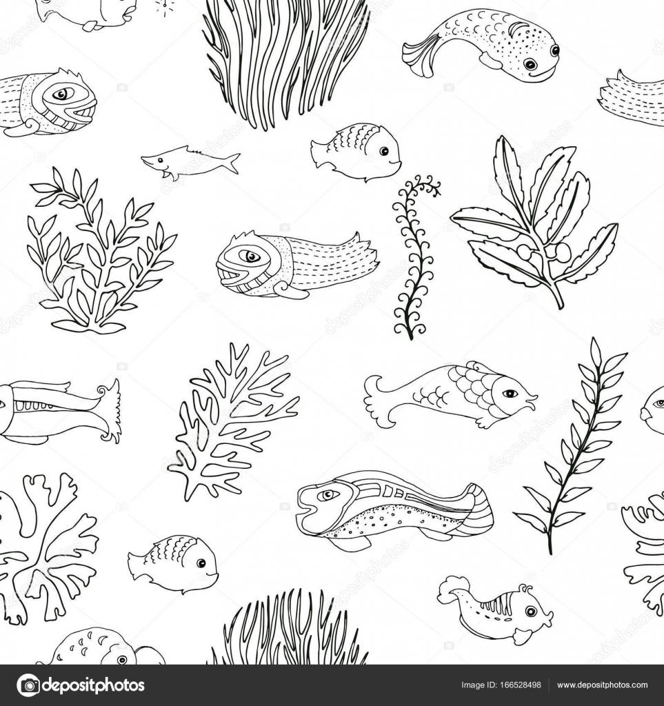 Nahtlose Muster Mit Doodle Fisch Und Algen Malvorlagen Für