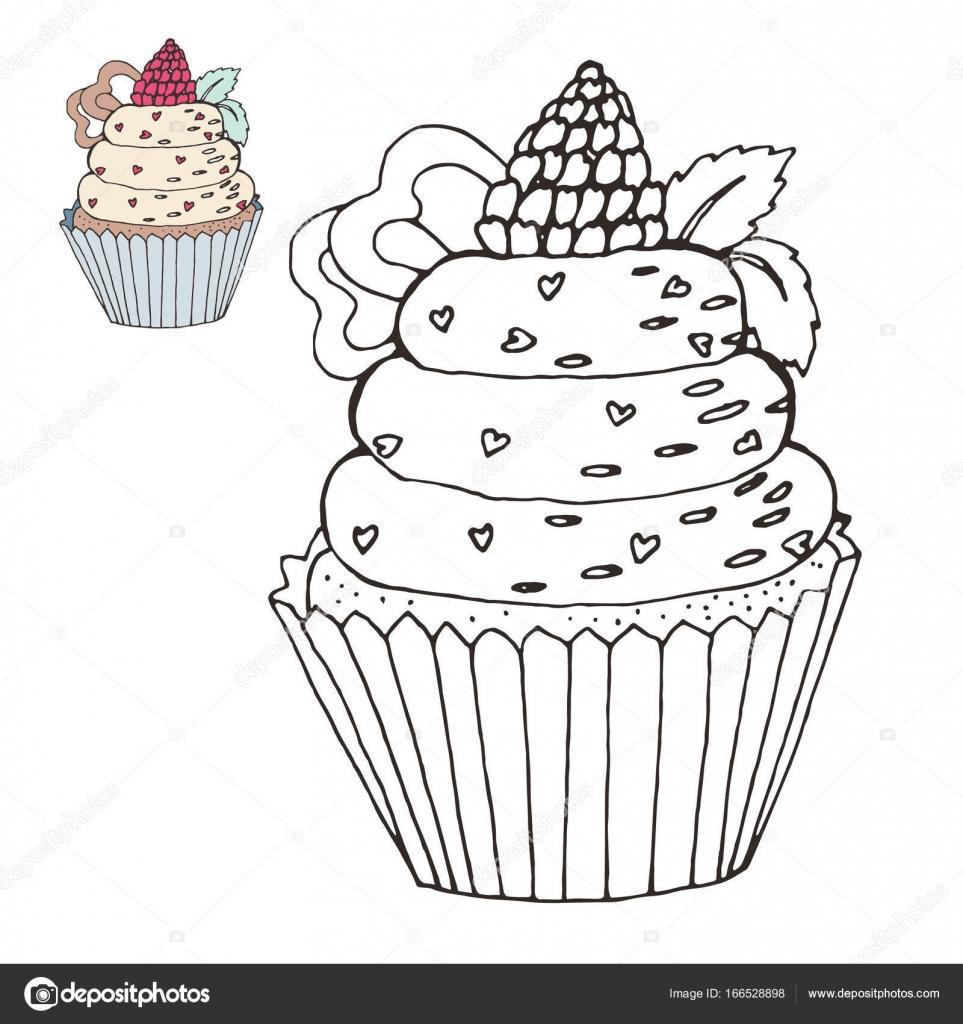 Bir Pasta Ile Boyama Sayfası Renk Sürüm Stok Vektör Insh1na