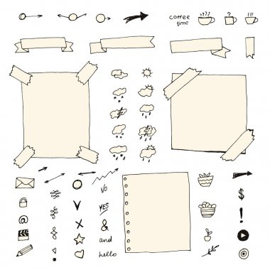 Hand drawn bullet journal elements.
