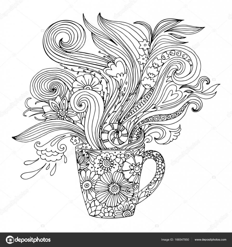 Página para colorear para adultos con una taza y flores — Archivo ...