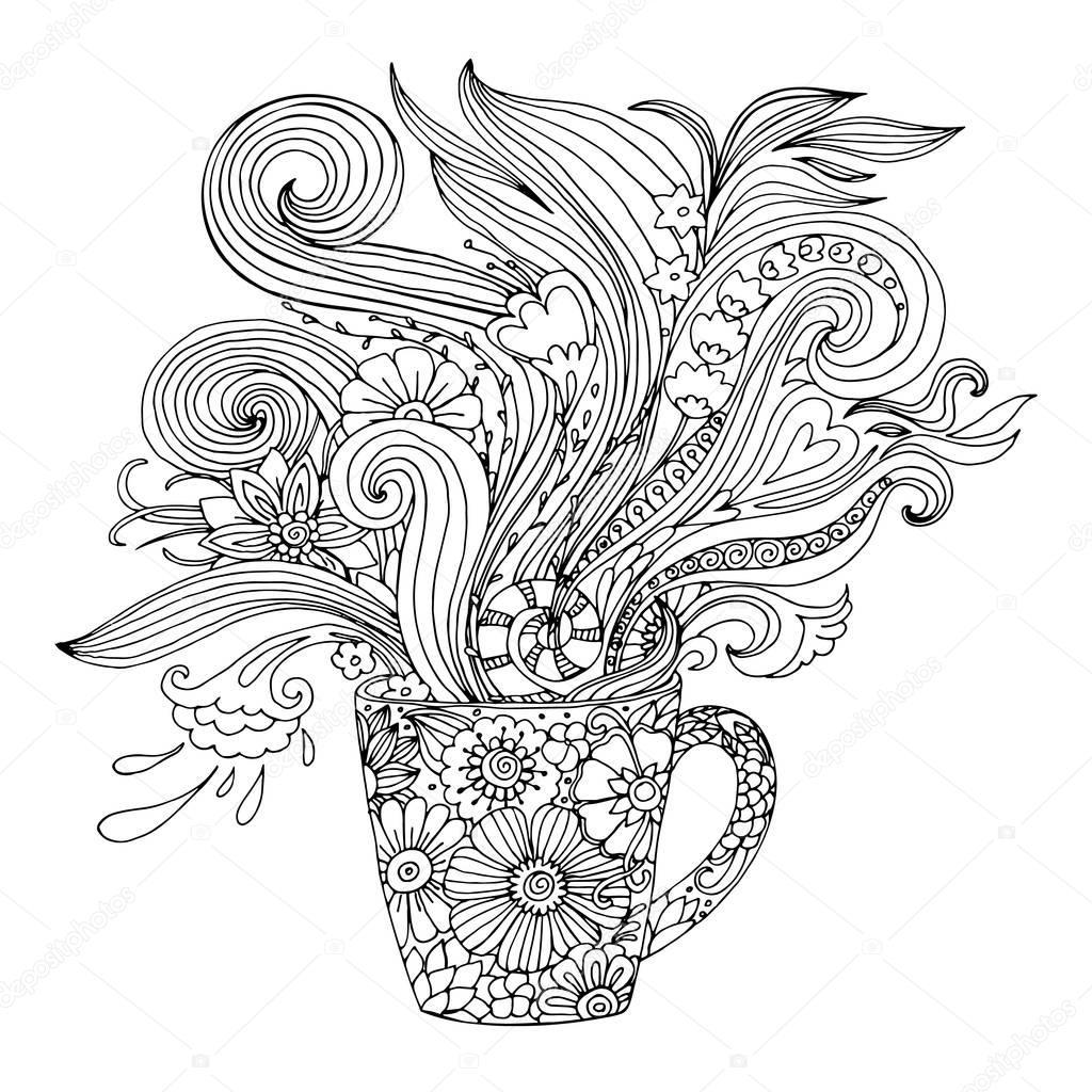 kleurplaat voor volwassenen met een beker en bloemen
