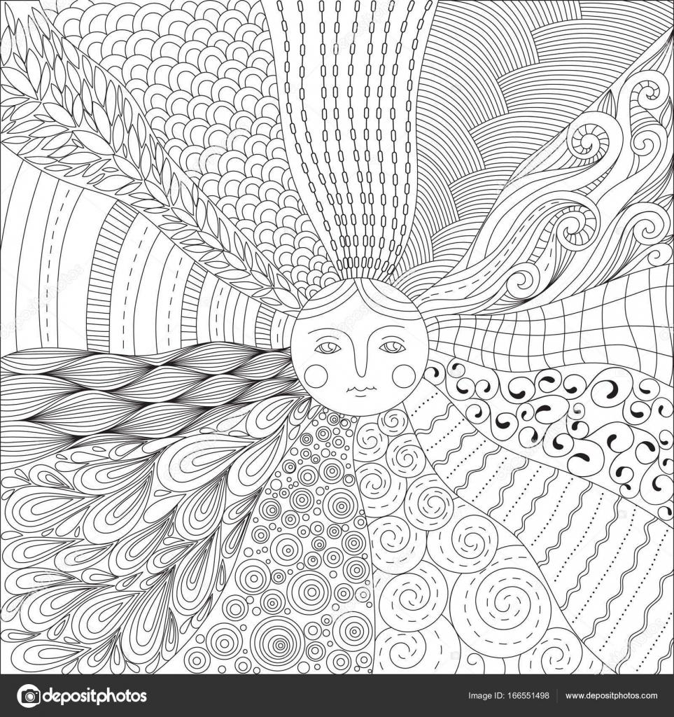Malvorlagen für Erwachsene mit der Sonne — Stockvektor © Insh1na