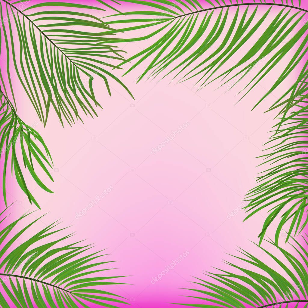 Green Palm Leaves On A Pink Background Trendy Tropical Background Premium Vector In Adobe Illustrator Ai Ai Format Encapsulated Postscript Eps Eps Format Paper tropical leaves and flowers over pastel background. green palm leaves on a pink background