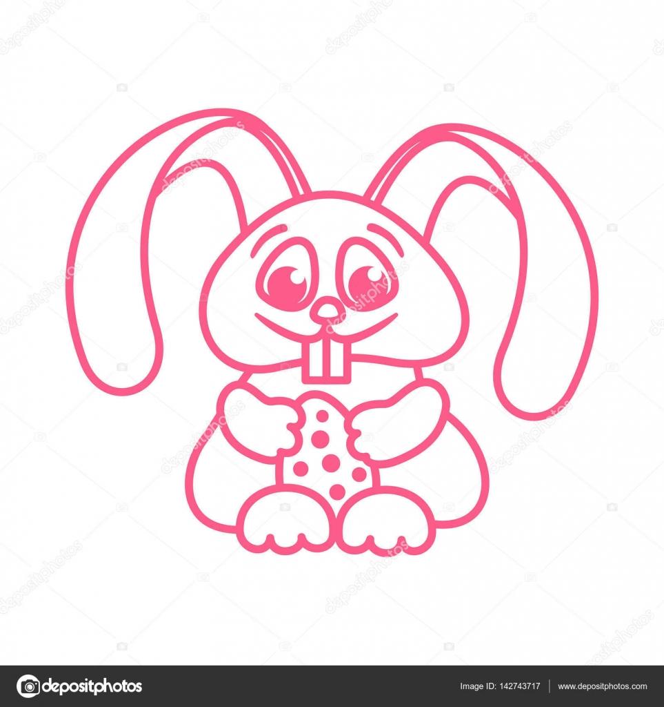 Osterhase mit Ostereiern für Kinder Färbung Gliederung — Stockvektor ...